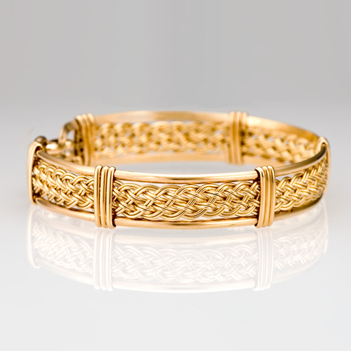 Braided Bracelet in gold by Tamberlaine Maine jeweler
