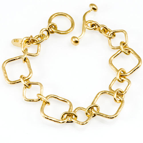 Forged Link Bracelet in 18k gold hand woven by Tamberlaine