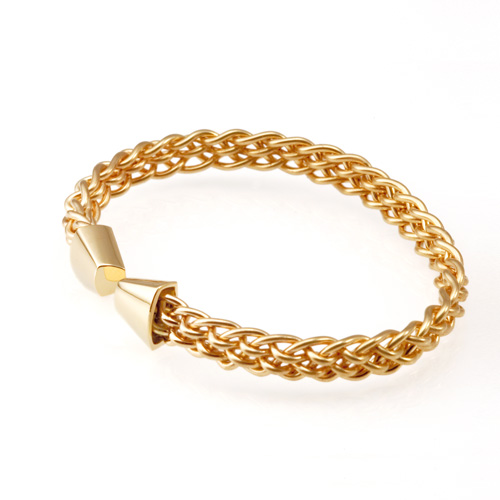 Trillion Six Strand Weave Bracelet in 18k gold hand woven by Tamberlaine