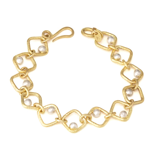 Forged Square Dot Bracelet in 18k gold hand woven by Tamberlaine