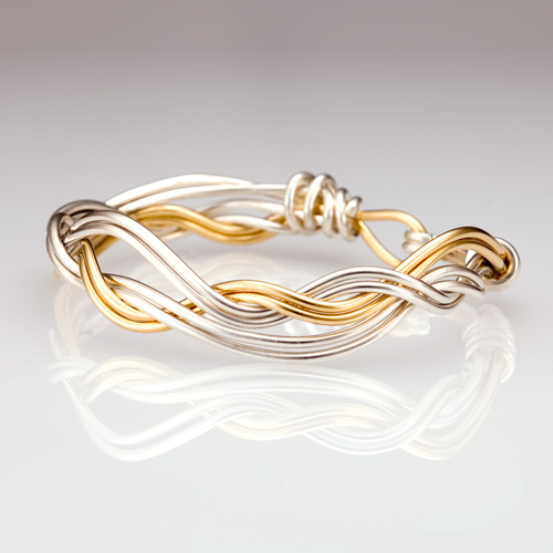 Ocean Waves Bracelet in silver and gold weave by Tamberlaine Maine jeweler