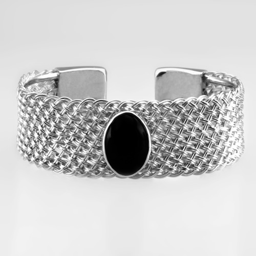 Wide Braided Cuff with Onyx in silver by Tamberlaine