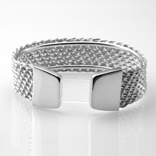 Wide Braided Cuff in silver by Tamberlaine