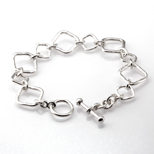 Forged Square Link Bracelet by Tamberlaine Maine jeweler