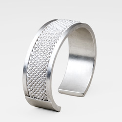 Wide Inset Weave Cuff Bracelet by Tamberlaine - sterling silver