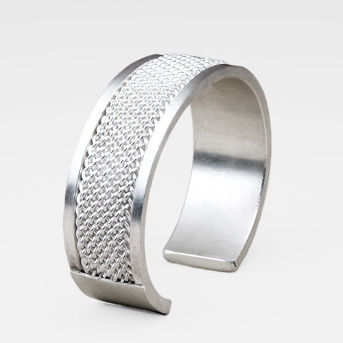 Wide Single Weave Cuff in silver by Tamberlaine