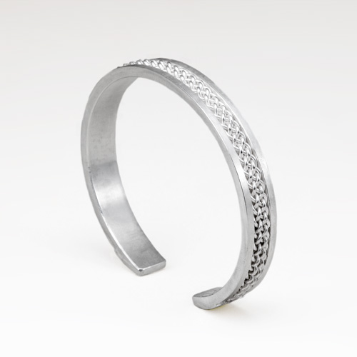 Six Strand Inset Weave Cuff in silver by Tamberlaine