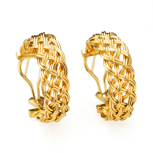 Bar Island Curl Earrings in 18k gold by Tamberlaine, Maine jeweler