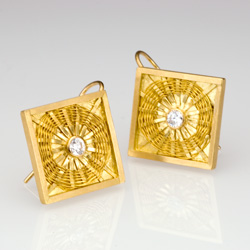 Diamond Sunburst Weave Earrings in 18k gold by Tamberlaine