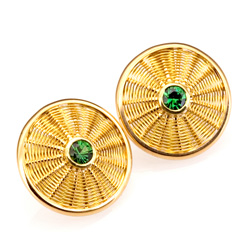 Sunburst Weave Earrings in 18k & 22k gold with Tsavorite garnet hand woven by Tamberlaine