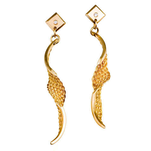 Spiral Twist Earrings in 18k gold with diamonds by Tamberlaine