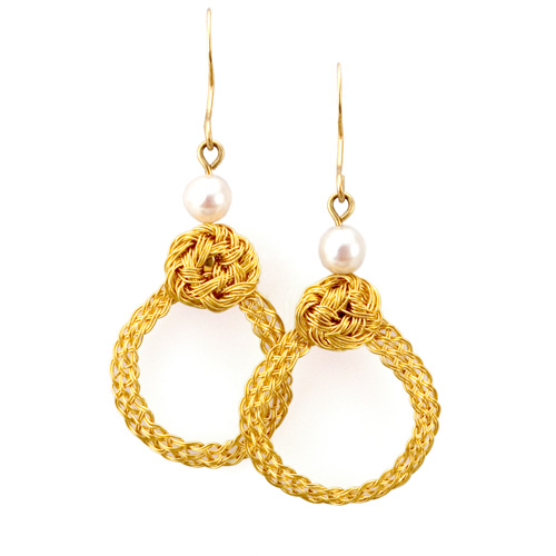 Turk's Knot Loop Earrings in 22k gold with Akoya pearls hand woven by Tamberlaine