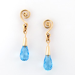 Fiddlehead Drop Earrings in 18k gold with Swiss blue topaz by Tamberlaine