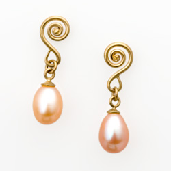 Pink Pearl Drop Earrings in gold by Tamberlaine