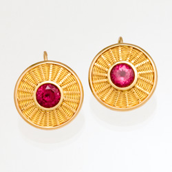 Rubellite Tourmaline Sunburst Weave Earrings - 18k & 22k gold - handwoven by Tamberlaine