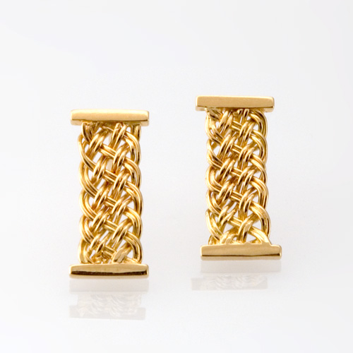 Bar Island Column Earrings in 18k gold by Tamberlaine