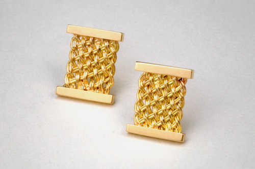 Bar Island Stud Earrings in 18k gold by Tamberlaine, Maine jeweler