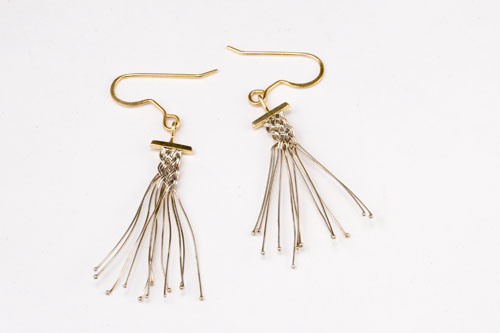 Dancer earrings in 18k white & yellow gold by Tamberlaine, Maine jeweler