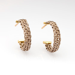 Bar Island Curl Earrings in 18k white & yellow gold by Tamberlaine