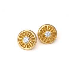 Sunburst Weave Stud Earrings in 18k gold with diamonds by Tamberlaine