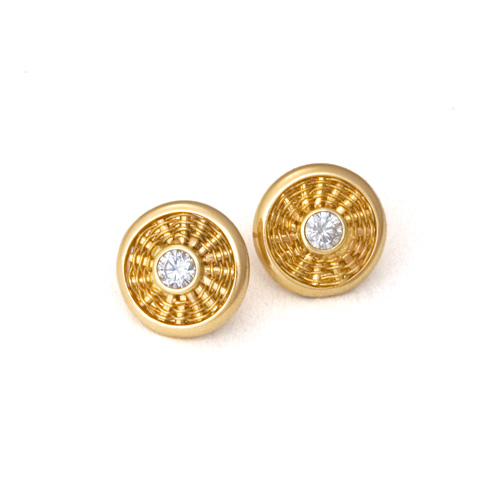 Diamond Sunburst Weave Stud Earrings in 18k gold by Tamberlaine