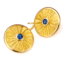 Sunburst Weave Earrings in 18k & 22k gold with sapphire hand woven by Tamberlaine