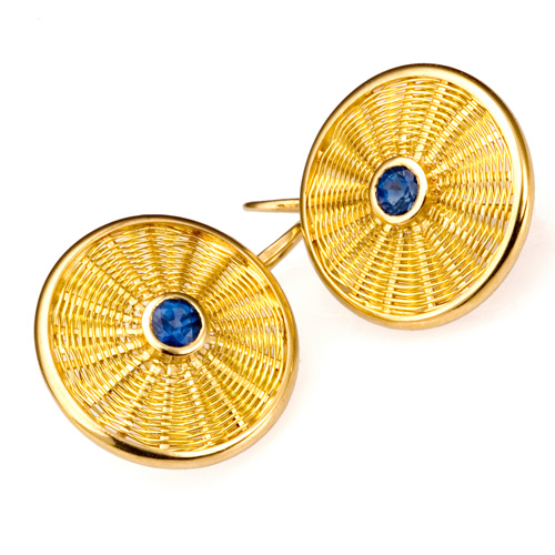 Sunburst Weave Earrings in 18k gold with blue sapphire by Tamberlaine