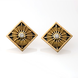 Sunburst Weave Earrings in 18k, 22k gold, & oxidized sterling silver with diamond hand woven by Tamberlaine