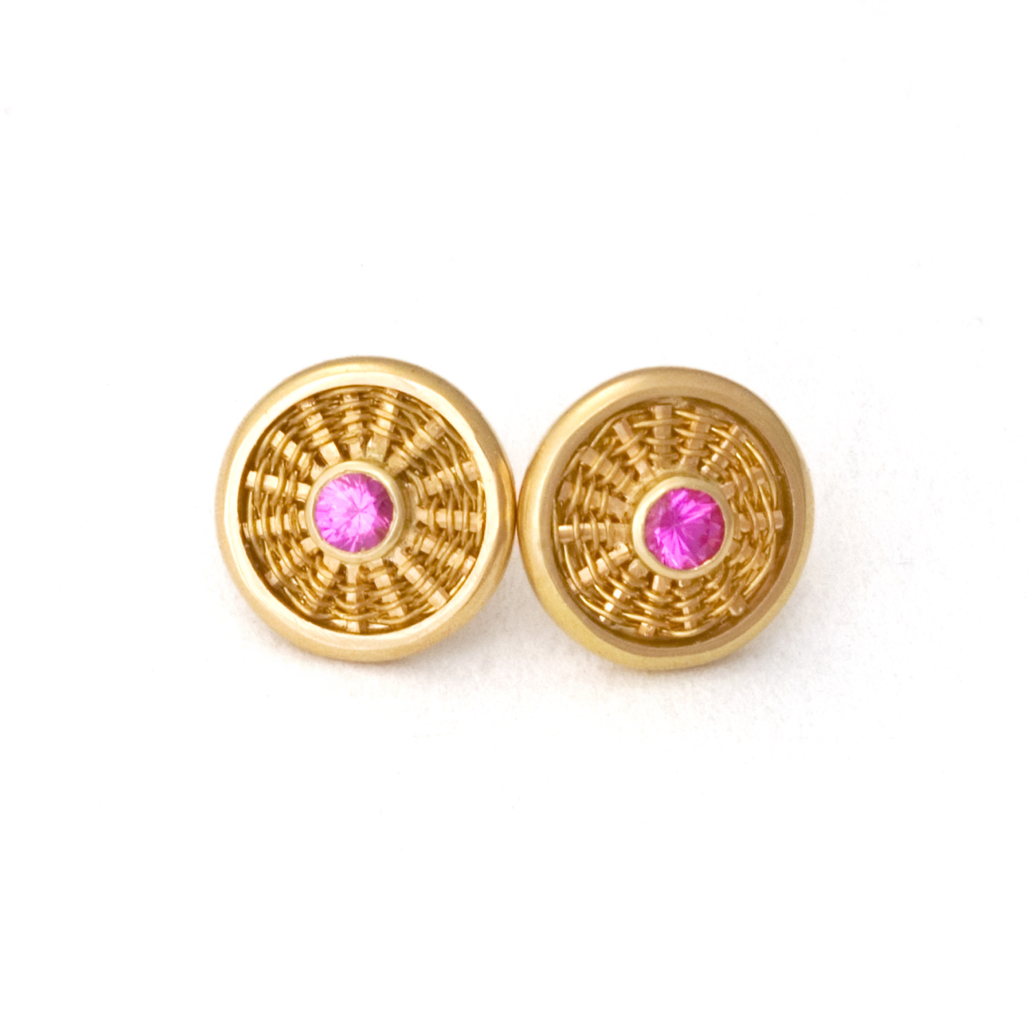 Sunburst Weave Stud Earrings in 18k & 22k gold with pink sapphires by Tamberlaine