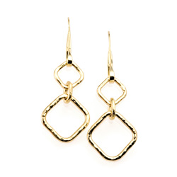 Forged Square Link Earrings in 18k yellow gold by Tamberlaine