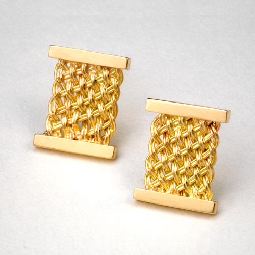 Bar Island Square Stud Earrings in 18k yellow gold by Tamberlaine
