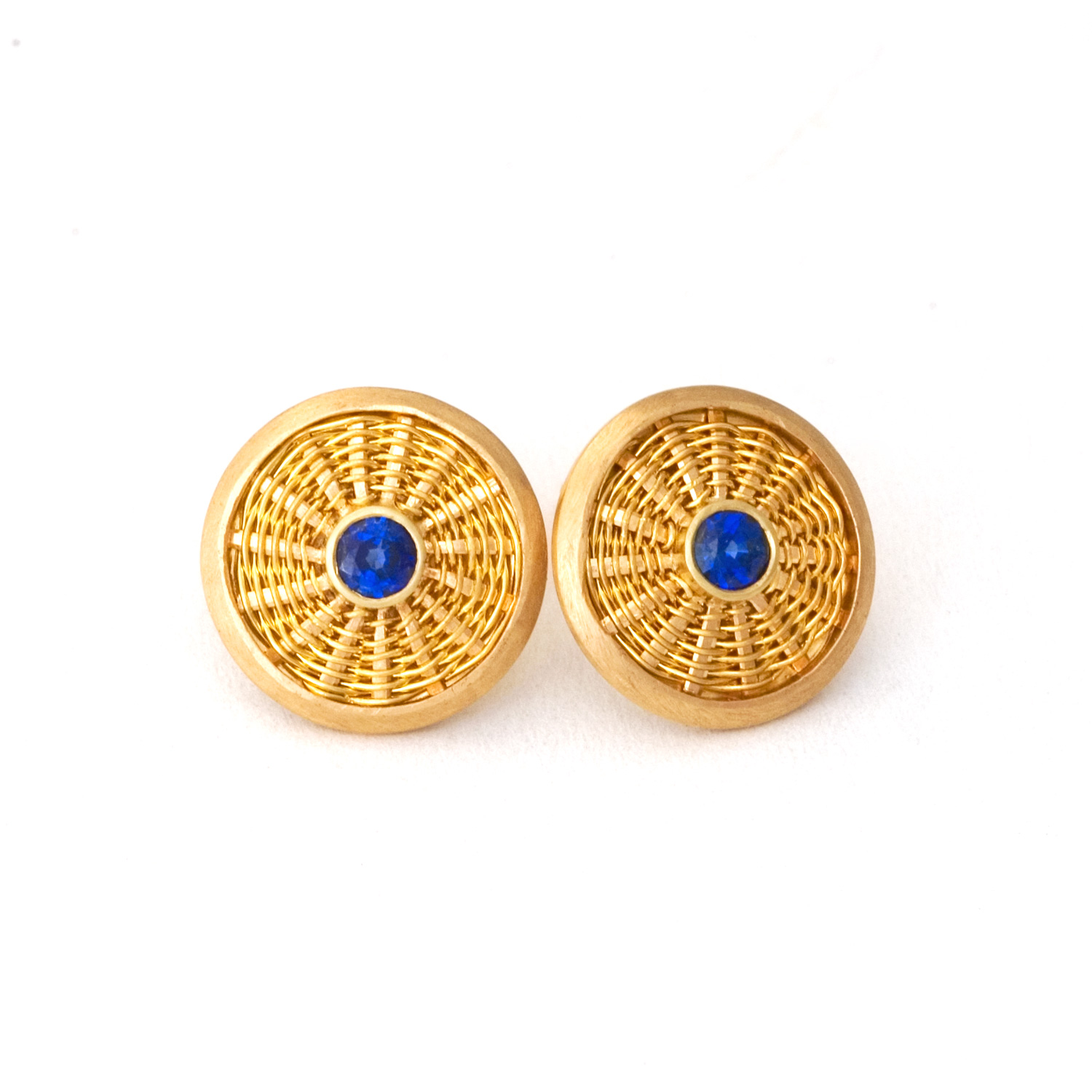 Sunburst Weave Stud Earrings in 18k & 22k gold with blue sapphires by Tamberlaine
