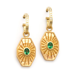Octagon Tsavorite Earrings on Diamond Curl Earrings by Tamberlaine