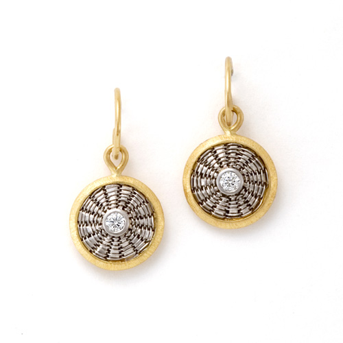 Sunburst Weave Earrings in 18k gold &ampp platinum with diamonds by Tamberlaine