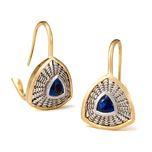 Trillion Sapphire Earrings in 18k gold &ampp platinum by Tamberlaine
