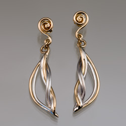 Ocean Wave Drops in 18k gold and sterling silver by Tamberlaine