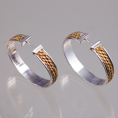 Inset Weave Hoops in 18k gold & sterling silver hand woven by Tamberlaine