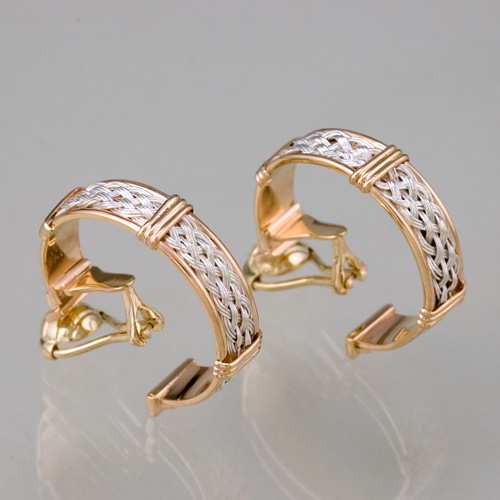 Hand Woven Ear Clips in 18k gold & sterling silver