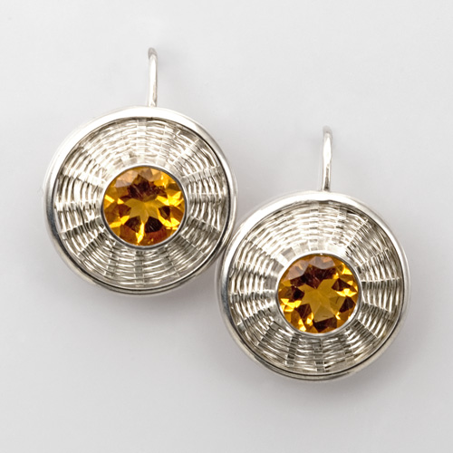 Sunburst Weave Citrine Earrings in silver by Tamberlaine