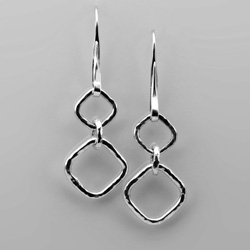 Forged Square Link Earrings - sterling silver by Tamberlaine