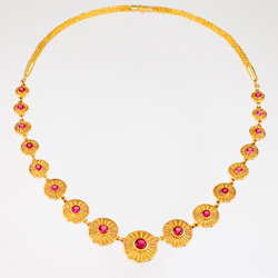 Gold Necklace - Pink Tourmaline, 18k & 22k yellow gold