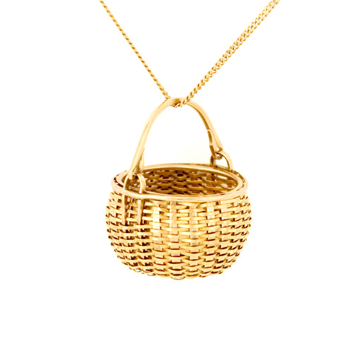 Swing Handle Basket Basket Necklace hand woven in 18k & 22k gold
