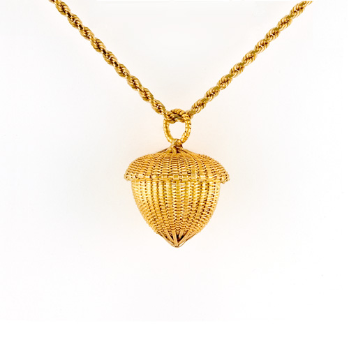 Acorn Necklace hand woven in 18k & 22k gold