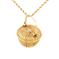 Covered Swing Handle Basket Pendant - 18k & 22k yellow gold