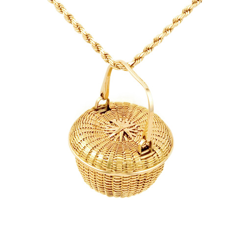 Covered Swing Handle Basket Basket Necklace hand woven in 18k & 22k gold