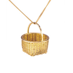 Shaker Fruit Basket Pendant - 18k & 22k yellow gold