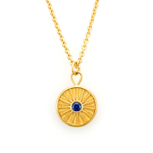 Sapphire Pendant hand woven in 18k & 22k gold