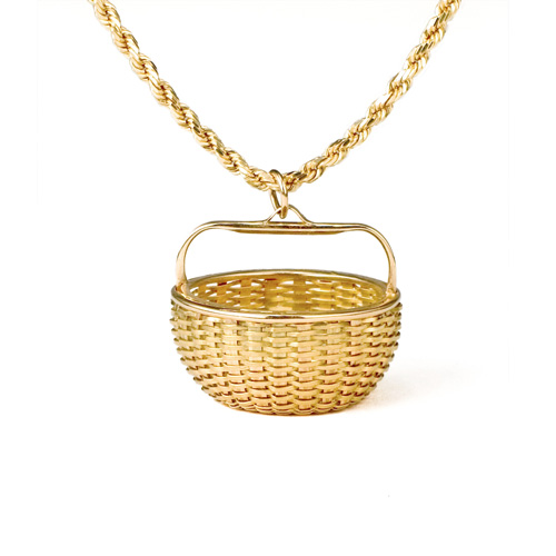 Maine Potato Basket Pendant hand woven in 18k & 22k gold