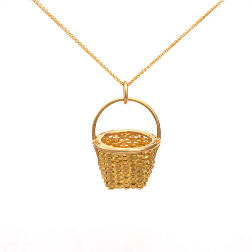 Tiny Fruit Basket Necklace hand woven in 18k & 22k gold