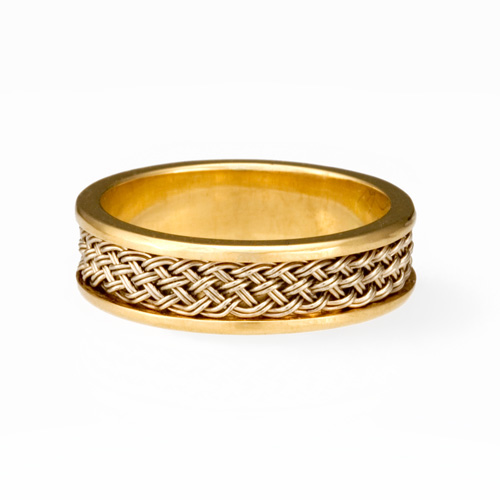 Ring with Inset Weave in 18k yellow gold & 18k palladium white gold